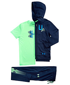 Under Armour Big Boys Rival Full-Zip Hoodie, Logo-Print T-Shirt & Tapered Athletic Pants