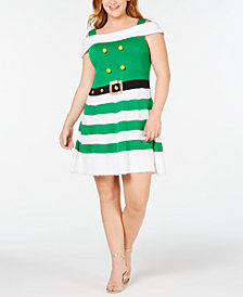 Planet Gold Trendy Plus Size Cold-Shoulder Elf Sweater Dress