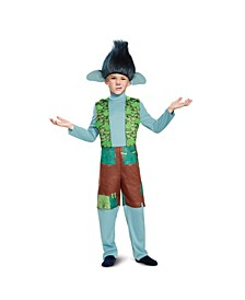 Trolls Branch Deluxe Little and Big Boys Costume With Wig
