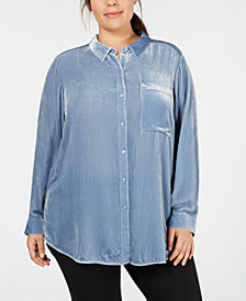 Eileen Fischer Plus Size Velvet Button-Front Shirt