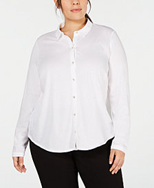 Eileen Fisher Plus Size Organic Cotton Shirt