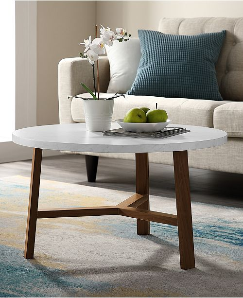 30 Inch Round Coffee Table In Faux White Marble And Acorn