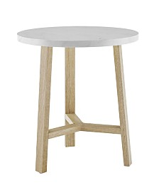 20 inch Round Side Table in Faux White Marble and Light Oak