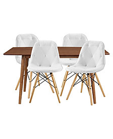 5 Piece Mid Century Dining Set with 4 Tufted Eames Style Chairs