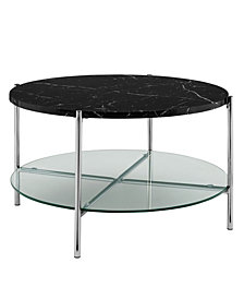 32 inch Round Coffee Table in Black Faux Marble with Glass Shelf and Chrome Legs