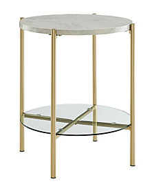 20 inch Round Side Table in White Faux Marble and Gold