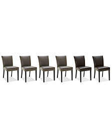 Tate Leather Parsons Dining Chair, 6-Pc. Set (Graphite & Dark Brown Side Chairs)