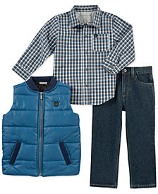 Calvin Klein Baby Boys 3-Pc. Vest, Plaid Shirt & Jeans Set