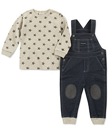 Calvin Klein Baby Boys 2-Pc. Star-Print T-Shirt & Denim Overalls Set