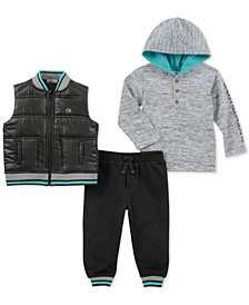 Calvin Klein Baby Boys 3-Pc. Vest, Hooded Top & Jogger Pants Set