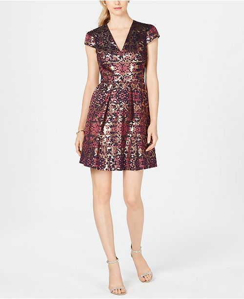 238701cdf22d Vince Camuto Jacquard Fit   Flare Dress   Reviews - Dresses - Women ...