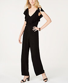 I.N.C. Petite Metallic-Striped Flutter-Sleeve Jumpsuit, Created for Macy's