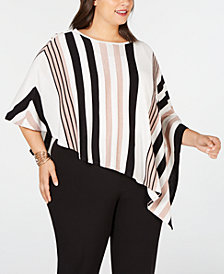 JM Collection Plus Size Striped Poncho, Created for Macy's