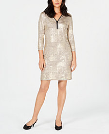 JM Collection Foil Print-Dress, Created for Macy's