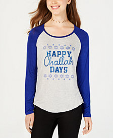 Rebellious One Juniors' Happy Challah Days Graphic Baseball T-Shirt
