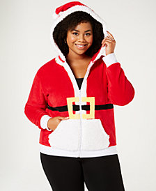 Planet Gold Trendy Plus Size Santa Zip-Front Hoodie