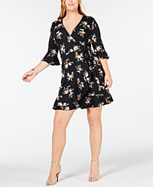 Soprano Trendy Plus Size Floral-Print Faux-Wrap Dress