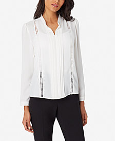 Tahari ASL Crochet-Trim Stand-Collar Top