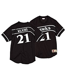 Men's Dominique Wilkins Atlanta Hawks Black & White Mesh Name and Number Crew Neck Jersey