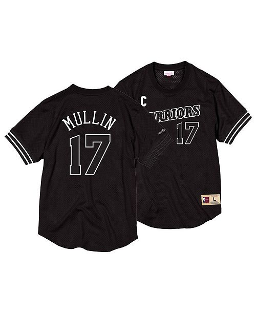 cae973ab7740 ... Mitchell   Ness Men s Chris Mullin Golden State Warriors Black   White  Mesh Name and Number ...