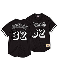 Mitchell & Ness Men's Magic Johnson Los Angeles Lakers Black & White Mesh Name and Number Crew Neck Jersey