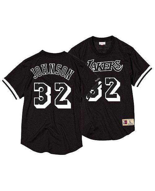 411949b3c09 ... Mitchell   Ness Men s Magic Johnson Los Angeles Lakers Black   White  Mesh Name and Number ...