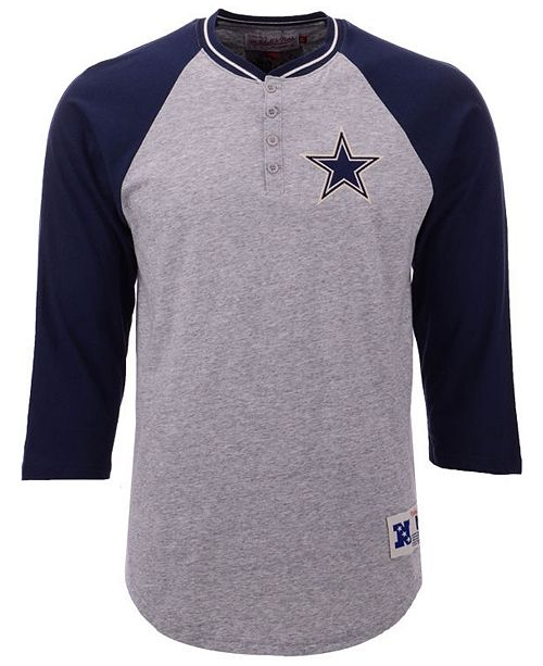 ... Mitchell   Ness Men s Dallas Cowboys Four Button Henley T-Shirt ... 342ae6e77