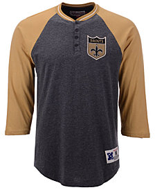 Mitchell & Ness Men's New Orleans Saints Four Button Henley T-Shirt