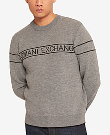 A|X Armani Exchange Men's Striped Logo Sweater
