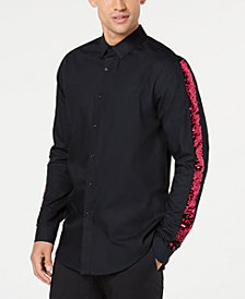 I.N.C. Men's Sequined Striped-Sleeve Shirt, Created for Macy's
