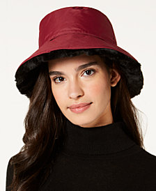 Nine West Faux-Fur Reversible Rain Bucket Hat