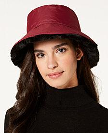Nine West Faux-Fur Reversible Rain Bucket Hat
