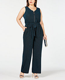 NY Collection Plus and Petite Plus Size Metallic Jumpsuit