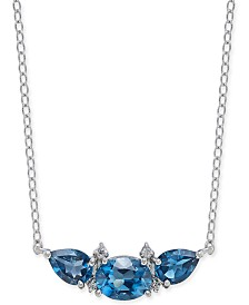 "London Blue Topaz (3-1/3 ct. t.w.) & Diamond Accent 18"" Collar Necklace in Sterling Silver"