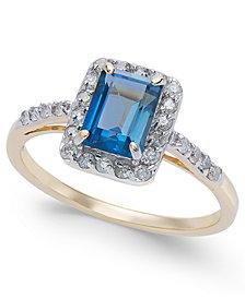 London Blue Topaz (1-3/8 ct. t.w.) & Diamond (1/4 ct. t.w.) Ring in 14k Gold