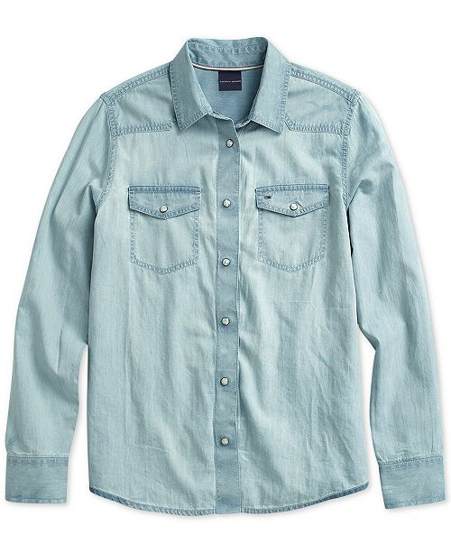 d29f8adc88182 ... Tommy Hilfiger Women s Western Denim Shirt with Magnetic Buttons ...