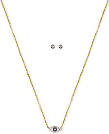 "Kitsch Gold-Tone Crystal Evil Eye Pendant Necklace & Stud Earrings Set, 18"" + 1"" extender"