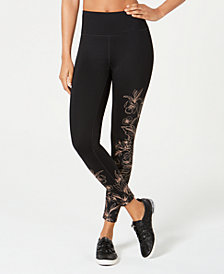 Calvin Klein Performance Whisper Metallic-Print High-Rise Leggings