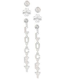 BCBG Silver-Tone 3-Pc. Set Crystal Lucky Clover Earrings