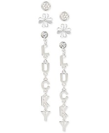BCBG Silver-Tone 3-Pc. Set Crystal Lucky Clover Earrings