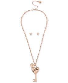 "BCBGeneration Rose Gold Crystal Key Pendant Necklace & Stud Earrings Set, 18"" + 3"" extender"