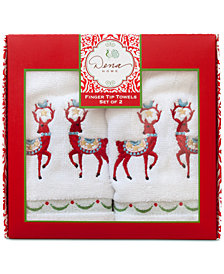 Dena Folkloric Cotton 2-Pc. Embroidered Fingertip Towel Set