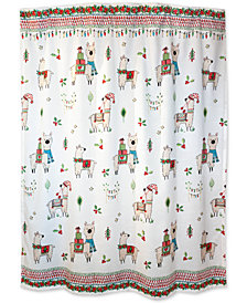 "Dena Festive Llama 72"" x 72"" Printed Shower Curtain"