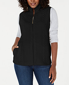 Karen Scott Petite Cable-Pattern Vest, Created for Macy's