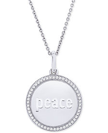 "Diamond Peace Disc 22"" Pendant Necklace (1/10 ct. t.w.) in Sterling Silver"