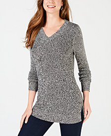 Charter Club Petite V-Neck Marled Sweater, Created for Macy's