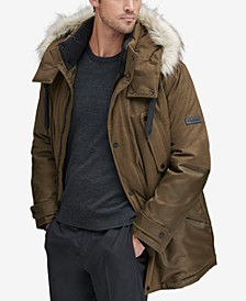 Men's Mixed-Media Parka with Removable Hood