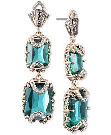 Jenny Packham Gold-Tone Pavé & Stone Double Drop Earrings