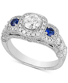 Diamond (2 ct. t.w.) & Sapphire (1/5 ct. t.w.) Engagement Ring in 14k White Gold