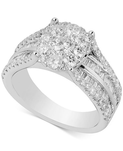 Macy's Diamond Cluster Composite Engagement Ring (2 ct. t.w.) in 14k White Gold